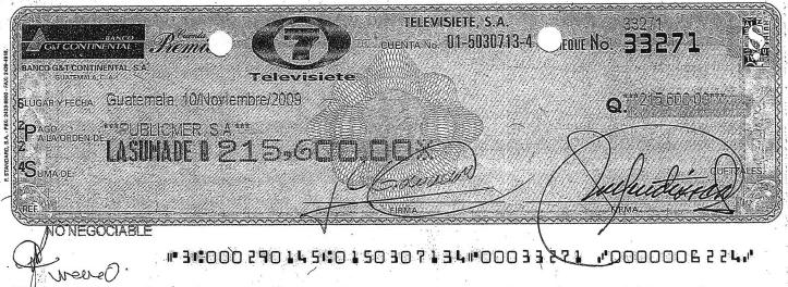 Cheque de 215.600 quetzales expedido por Televisiete, cuyo beneficiario es Publicmer.