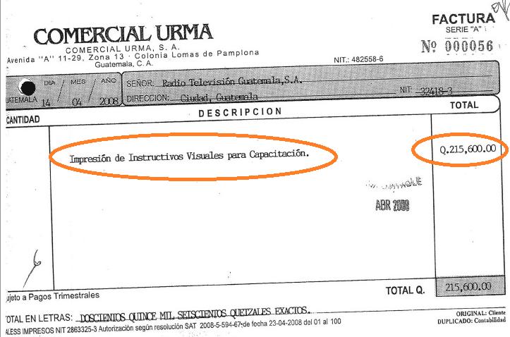 factura Urma-RTVGuatemala